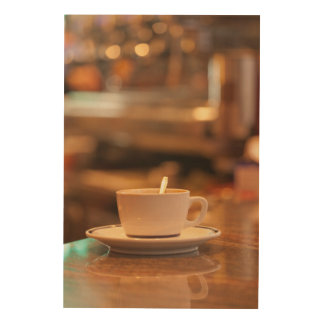 Quadro De Madeira Chávena de café em um Café