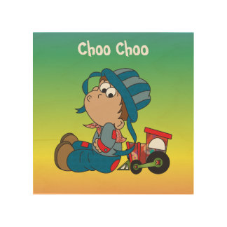 Quadro De Madeira Choo Choo Little Boy