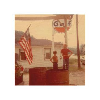 Quadro De Madeira Cidade pequena 4o de bandeira americana do 4 de