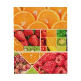 Quadro De Madeira Colagem da fruta da mistura