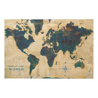 Quadro De Madeira Colagem do mapa do mundo