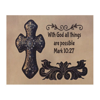 Quadro De Madeira Com deus todas as coisas são possíveis