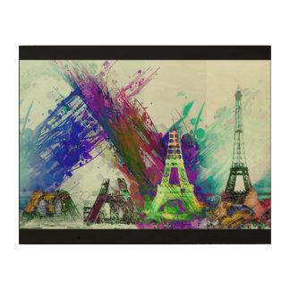 Quadro De Madeira Construção Paris France da torre Eiffel da arte