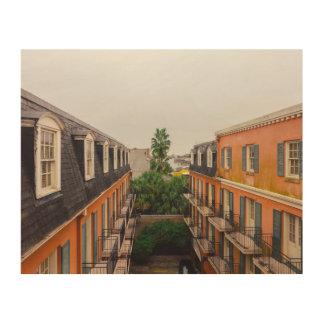 Quadro De Madeira Construções e palmeiras em Nova Orleães