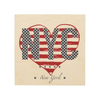 Quadro De Madeira Coração da bandeira americana de NYC