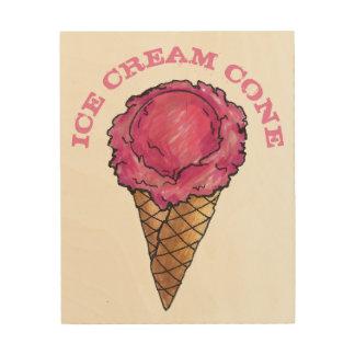 Quadro De Madeira Cozinha cor-de-rosa da comida do cone do Waffle do