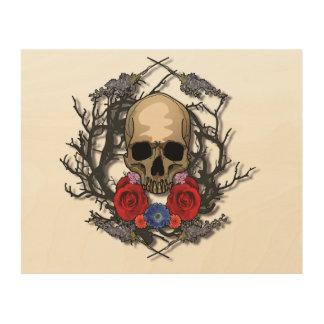 Quadro De Madeira Crânio da arte de madeira do painel das flores