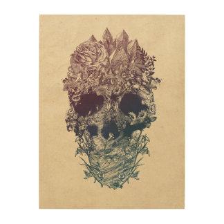 Quadro De Madeira Crânio floral