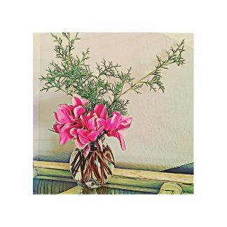Quadro De Madeira Cyclamen cor-de-rosa, buquê floral - arte de
