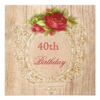 Quadro de madeira da rosa vermelha do aniversário