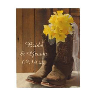 Quadro De Madeira Daffodils e casamento ocidental do país das botas