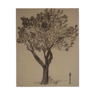 Quadro De Madeira Desenho de carvão vegetal de uma árvore