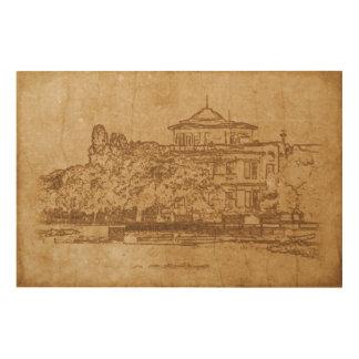 Quadro De Madeira Desenho do vintage da construção