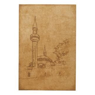 Quadro De Madeira Desenho do vintage da mesquita de Juma-Jami