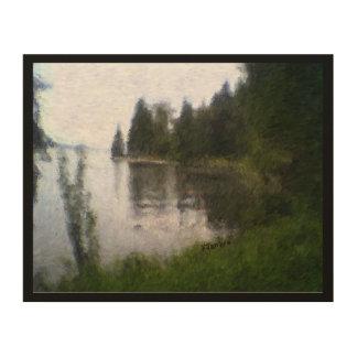 Quadro De Madeira Design bonito do lago: foto digital alterada