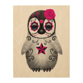 Quadro De Madeira Dia cor-de-rosa do pinguim inoperante do bebê