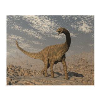 Quadro De Madeira Dinossauro de Spinophorosaurus que anda no deserto