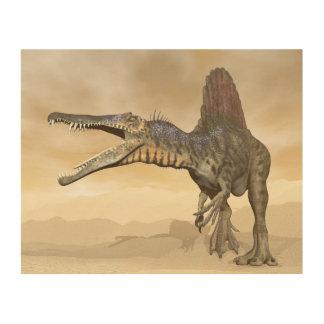 Quadro De Madeira Dinossauro de Spinosaurus no deserto - 3D rendem