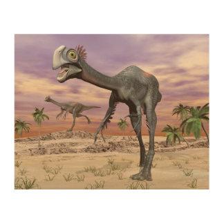 Quadro De Madeira Dinossauros de Gigantoraptor no deserto - 3D
