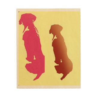 Quadro De Madeira Diptych do cão