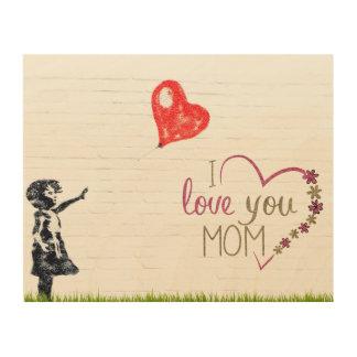 Quadro De Madeira Divertimento e encantamento eu te amo da mamã
