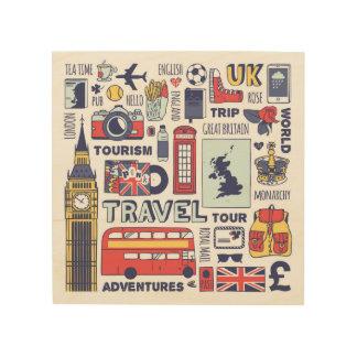 Quadro De Madeira Doodles do viagem de Inglaterra