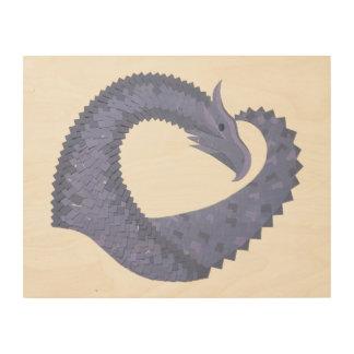 Quadro De Madeira dragão Azul-cinzento do coração