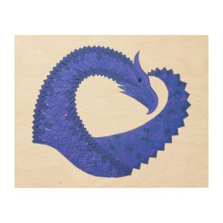 Quadro De Madeira Dragão azul do coração
