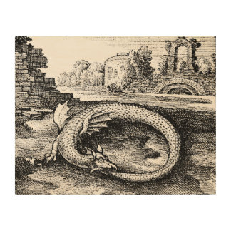 Quadro De Madeira Dragão de Ouroboros