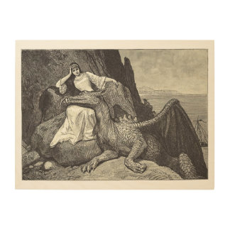 Quadro De Madeira Dragão do animal de estimação e a donzela