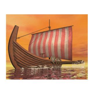 Quadro De Madeira Drakkar ou navio de viquingue - 3D rendem