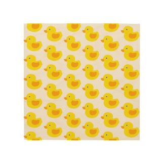 Quadro De Madeira Ducky de borracha do bebê amarelo e alaranjado