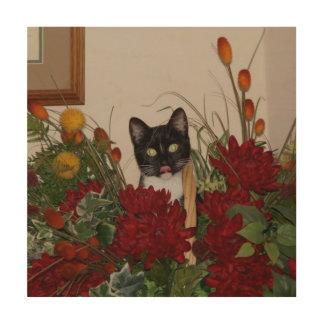 Quadro De Madeira Elvira o gato, cópia de madeira da arte da parede