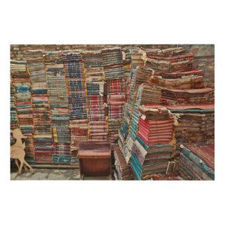 Quadro De Madeira Escadaria de livros velhos