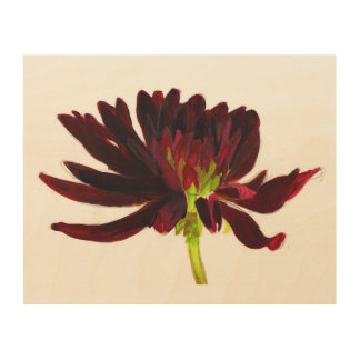 Quadro De Madeira Escuro - arte vermelha da parede da dália