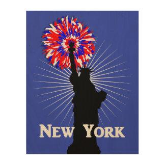 Quadro De Madeira Estátua da liberdade patriótica americana de New