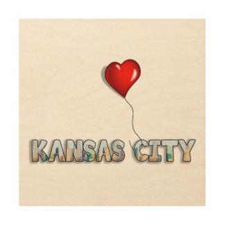 Quadro De Madeira Eu amo Kansas City com skyline do KC dentro das