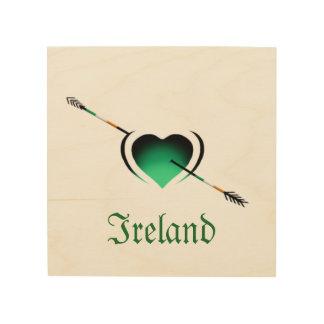 Quadro De Madeira Eu amo o coração do Dia de São Patrício de Ireland
