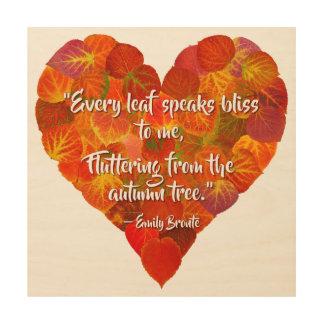 Quadro De Madeira Eu amo o coração Outono-Vermelho 1 da folha de