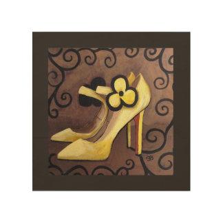 Quadro De Madeira Eu estou no amor com meus calçados amarelos