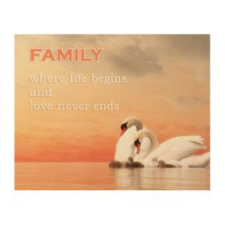 Quadro De Madeira Família da cisne