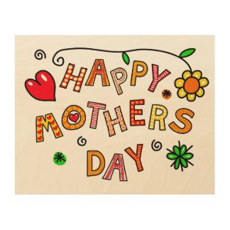 Quadro De Madeira Feliz dia das mães simples e do divertimento