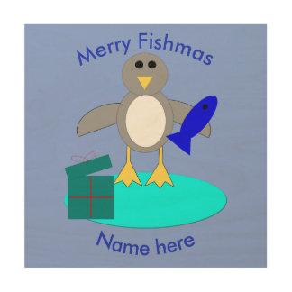 Quadro De Madeira Feliz Natal que pesca canvas da madeira do pinguim