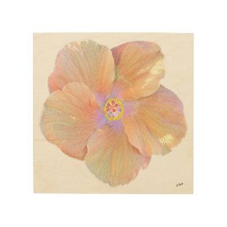 Quadro De Madeira Flor do hibiscus da aguarela de Havaí
