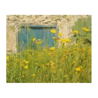 Quadro De Madeira Flores amarelas da aguarela