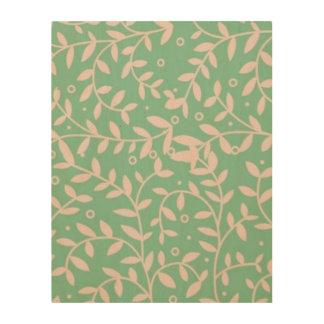 """Quadro De Madeira Folhas do verde e do rosa 11"""""""" arte de madeira da"""