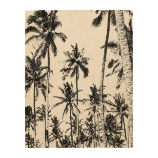 Quadro De Madeira Foto tropical da palmeira preto e branco