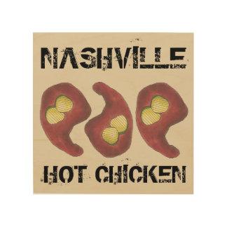 Quadro De Madeira Galinha quente de Nashville com comida de