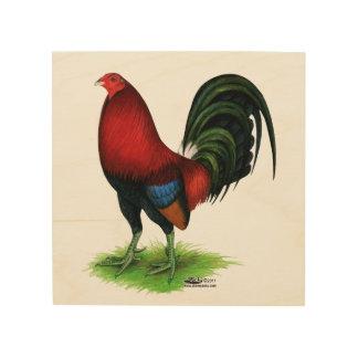 Quadro De Madeira Gamecock:  Escuro - vermelho