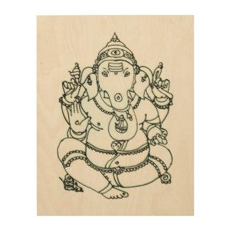 Quadro De Madeira Ganesha